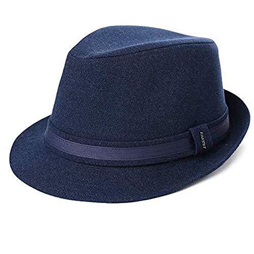 Herren Trilby Hut 1920/1950S Styler Jazz Fedora Hut 58-60 cm Blau