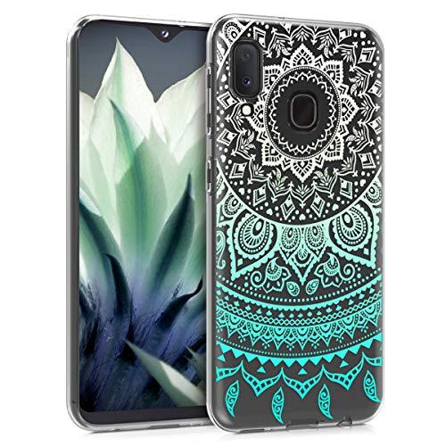 kwmobile Hülle kompatibel mit Samsung Galaxy A20e - Hülle Handy - Handyhülle - Indische Sonne Mintgrün Weiß Transparent