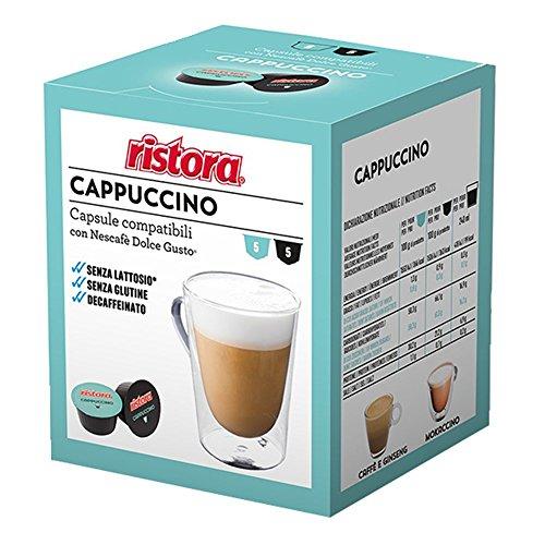 Ristora - Cápsulas de café compatibles con Dolce Gusto, capuchino descafeinado, no contiene lactosa ni gluten