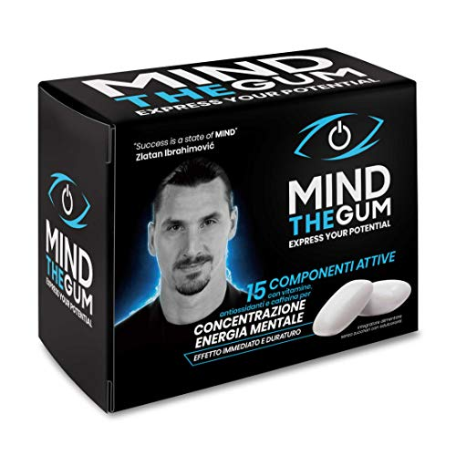 MIND THE GUM, Integratore con caffeina per Concentrazione ed Energia Mentale - Confezione da 12 giorni con 36 Chewing Gum - Gusto Menta