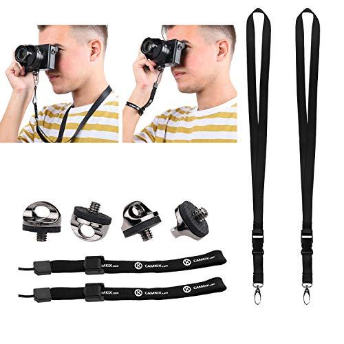 Set mit 4 Kamera Quick-Install Stativ-Schrauben, 2 Halsbändern und 2 Armbändern - Für eine schnelle und sichere Verbindung zu Ihrer Kamera - einstellbare Armbänder