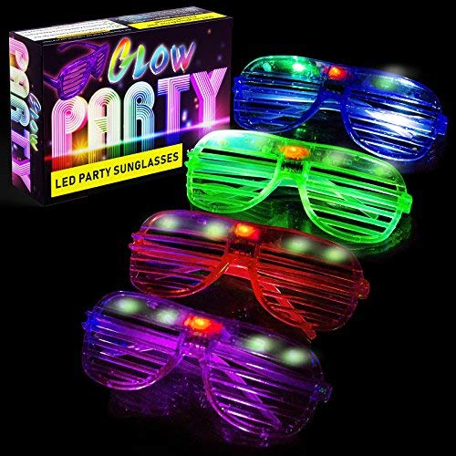 LED Glasses & Kids Party Favors - 12 Neon Glow in The Dark Parties Supplies for Goody Bags and Teen Birthdays - Bulk Light Up Shutter Shades Fun for All Ages Glowing Events (12 Pack LED Glasses)