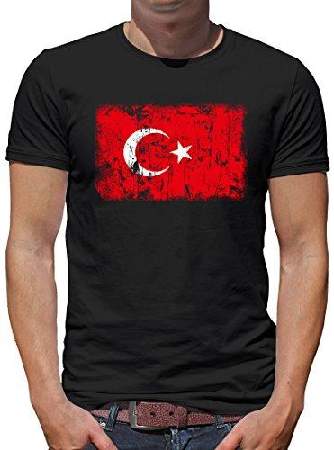 TShirt-People Türkei Vintage Flagge Fahne T-Shirt Herren M Schwarz