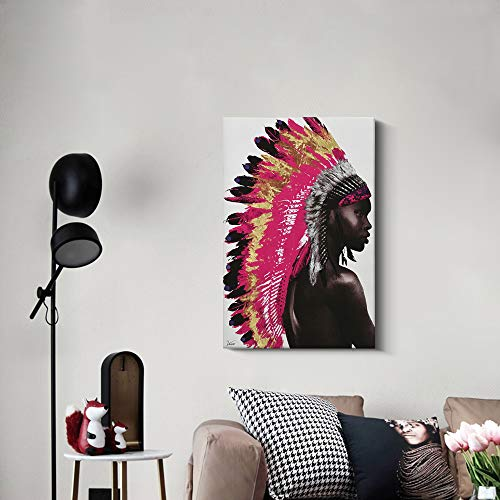 Framed Native American Decor Wall Art, Beautiful Feathered African Indian Women Painting on Canvas Print Modern Wall Decorations (24x36 inch, A)