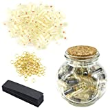 Package includes a glass bottle, 100 transparent capsules, 100 metal rings and 100 black notes. A great way to show your feeling to others, a perfect gift for girlfriend or boyfriend. Pill size 0.78''x0.23'', Paper spread : 0.7''x2.36''. These capsul...