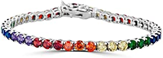 Real Solid 925 Sterling Silver Mens Or Womens Multi Colored Tennis Bracelet - 4mm Rainbow CZ - 6-9