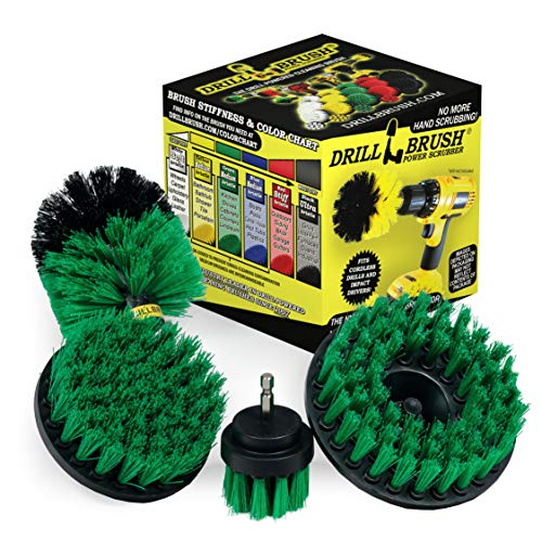 Drillbrush 4 Piece Bundle – Save 30% with Our Bundle – Add a 5-inch Flat hex Shaft Brush to Our 3 Piece Drill Brush Kitchen Scrubbing Kit