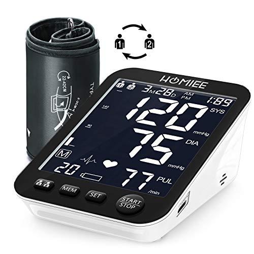 HOMIEE 5 Zoll Blutdruckmessgerät Oberarm, Digitales Blutdruckmessgerät mit Arrhythmie-Erkennung, blutdruckmessgerät Typ C-Schnittstelle, 2*90 Dual-User-Modus, 22-42cm große Manschette
