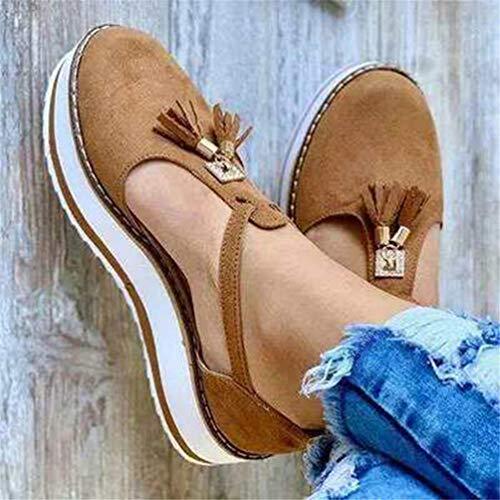 Sandalen voor dames Flatform sandalen Plateausandalen Sleehak Sandalen Leren schoenen met gesloten neus Gesp Enkelbandje Hakken Vintage strand Espadrilles,Brown,41