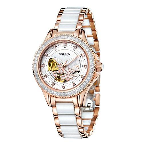 XINLEE Damenuhr Zeiger Zeigen wasserdicht Kratzfest automatische Tourbillon Hohle mechanische Uhr, Pink