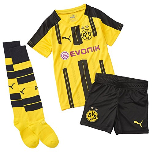PUMA Kinder Set BVB Home Minikit with Sponsor Logo Babyset, cyber yellow-Black, 92