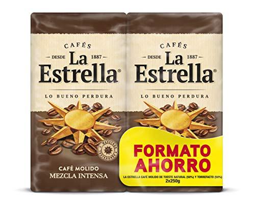 La Estrella Café Molido de tueste natural y torrefacto - Paquete de 4x ( 2x250 g) - Total: 2 kg