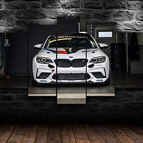 GMSM Quadro 200x100 cm 5 Pezzi BMW M2 Racing Sport Car Side Stampa su Tela in TNT XXL Immagini Moderni Murale Fotografia Grafica Decorazione da Parete Quadro