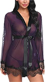 Women's Kimono Lace Robe Flounce Long-Sleeve Transparent Wide-Sleeve Sexy Pajamas See-Through Underwear Lingerie Nightwear...