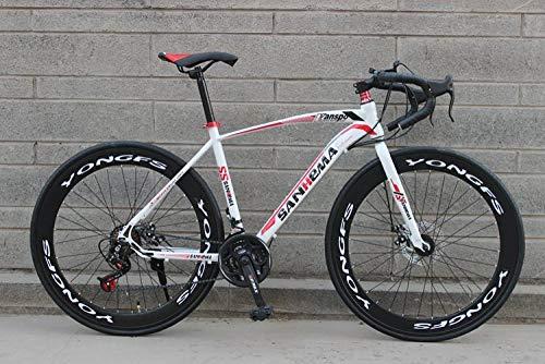 LIKEJJ Vélo de Route Adulte, vélo de Course pour Hommes avec Frein à Disque Double, vélo de Route à Cadre en Acier à Haute teneur...