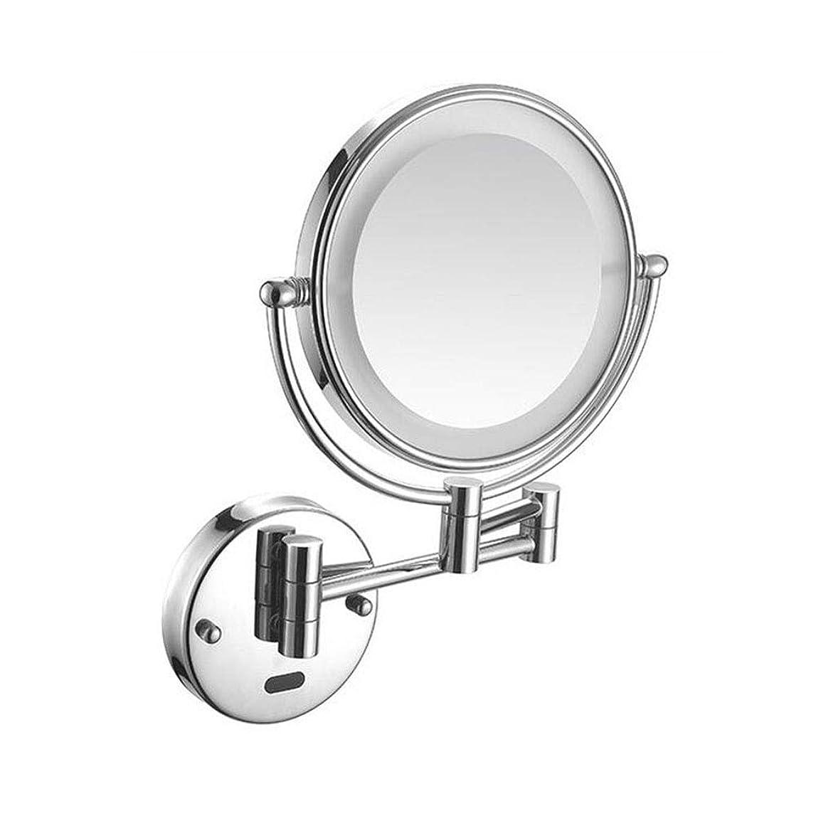 ひいきにする論争的チートLSYO LED 両面 壁に取り付けられた バニティミラー、畳み式 拡大鏡 ンチ360度回転 浴室鏡 拡張可能 丸型,Chrome_5X Magnification