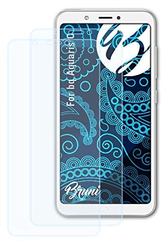 Bruni Schutzfolie kompatibel mit bq Aquaris C Folie, glasklare Bildschirmschutzfolie (2X)