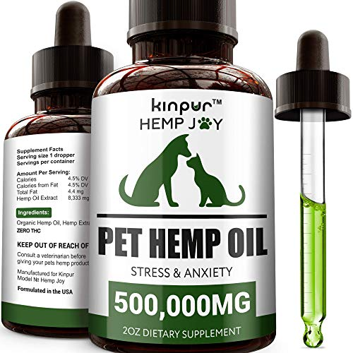 Kinpur Natural Hemp Oil for Dogs and Cats - 500,000mg - Pet Hemp Oil that Supports Mobility, Hip and Joint Health, Immunity - Calming Treats for Dogs, Cats - Made in the USA