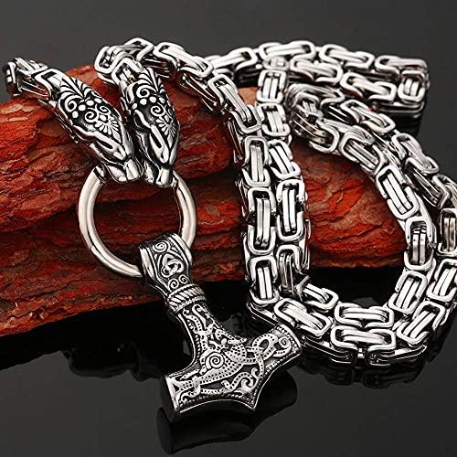 AMOZ Jynqr - Collar de Cadena con Cabeza de Dragón Vikingo, Amuleto Nórdico, Colgante, Collar Escandinavo, Auténtico Vikingo 316L, Estilo Mjolnir Mammen, Dorado, 28 Pulgadas,Plata,28In