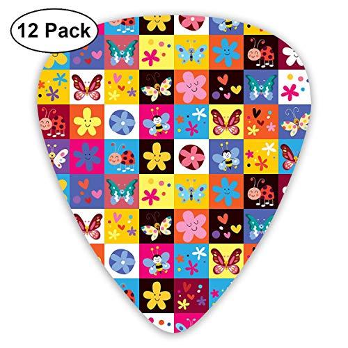Gitaar Picks12 stks Plectrum (0,46 mm-0,96 mm), Vlinders Kevers Bloemen Bijen Bugs Haard Lente Mooie Hippie Seizoen Afbeelding, Voor Uw Gitaar of Ukulele