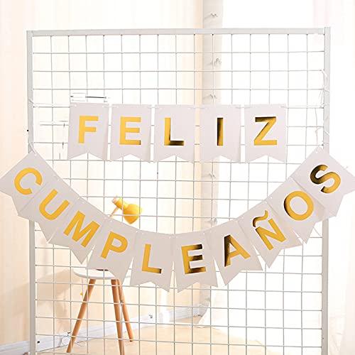 1 Juego de Banner Feliz Cumpleaños Español Pancartas Cumpleaños Bandera de Papel Guirnalda Colgar para Decoración Fiesta Reunión Banquete (Kit blanco)