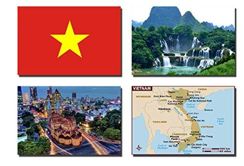 CFL SET OF 4 VIETNAM MAGNETICA CALAMITA FRIGO IMANES PARA NEVERA – VIETNAM FLAG, VIETNAM MAP, VIETNAM ATTRACTIONS FRIDGE MAGNET