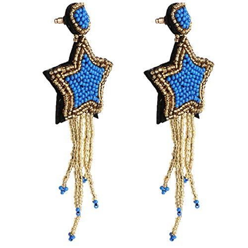 KESYOO 1 par de Brincos de Pendão de Borla Com Cercadura Estrela Brincos Pendentes Lustre para Mulheres Brincos de 5 Estrelas Com Franja Grande E Franja Nativa Com Cercadura (Cores