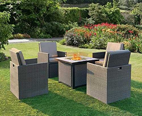 Fire Pit Table Concrete Top Glass Screen Regulator & Hose Electronic...