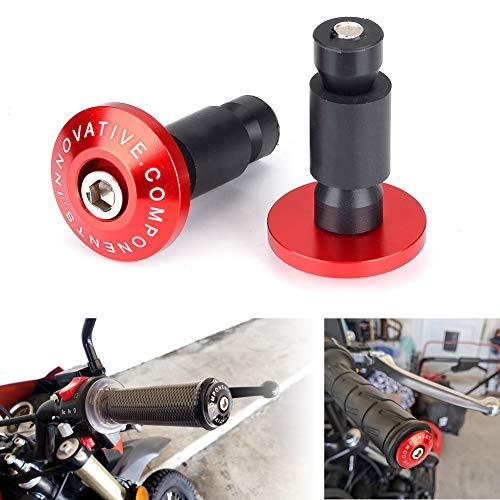 Goldfie Motorcycle 7/8'' Handle Bar End Weights Handlebar Grips Cap Anti Vibration Silder Plug for Yamaha Kawasaki honda KTM Dirt Bike (red)