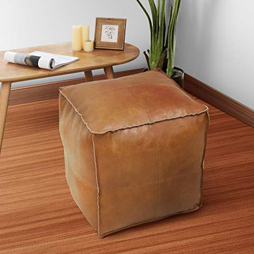 WWZ Puf&Pillows-Funda de cojín de cuero artificial PU de alta calidad sin relleno, otomana, muebles cuadrados, sillón puf, taburete de po, casillero o artículos de boda (vacíos y nuevos) (marrón)