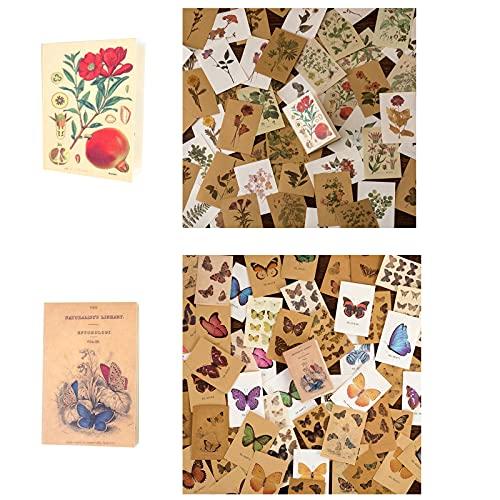 160 Blatt DIY Vintage Scrapbooking Material Papier, Retro Blumen und Schmetterling Dekorpapier, Journaling Hintergrundpapier, für DIY Basteln Kartenherstellung Album Scrapbooking