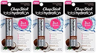 Chapstick Total Hydration Lip Balm - Coconut Hydration - 3-in-1 Lip Care - Net Wt. 0.12 OZ (3.5 g) Each - by Chapstick