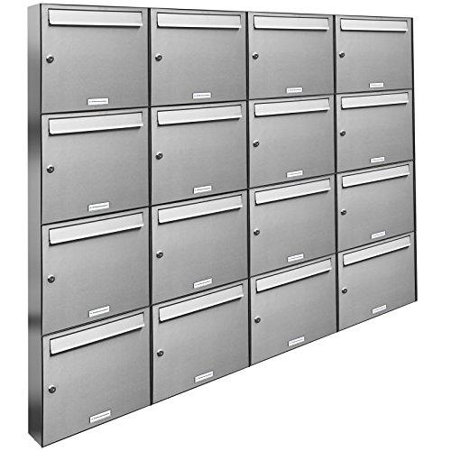 AL Briefkastensysteme 16er Briefkastenanlage Edelstahl, Premium Briefkasten DIN A4, 16 Fach Postkasten modern Aufputz