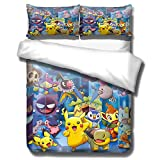 Juego de ropa de cama Yomoco Pokemon Pikachu, funda de edredón y funda de almohada, microfibra, impresión digital 3D, juego de cama de tres piezas, 07, King 220x240cm
