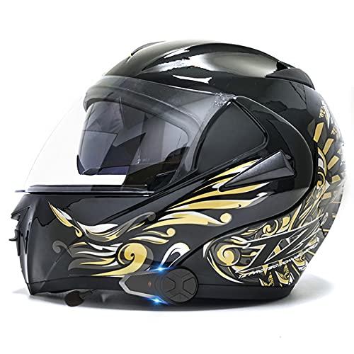 Bluetooth Modular walkie-Talkie Casco De Moto, Doble Visera Cascos Integrales De Moto Casco De Motocross para Mujer e Hombre,ECE Homologado H,M