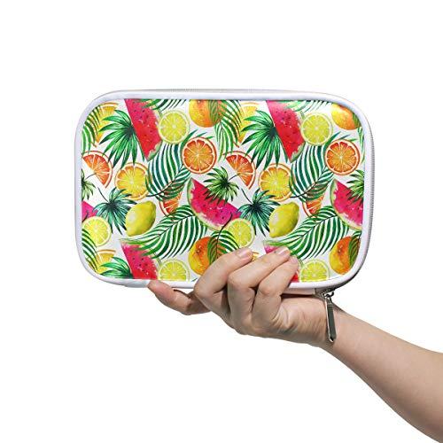 Trousse de toilette pour femmes Tropical aquarelle Fruits Seamless Tropic Trousse de toilette solide Sacs à cosmétiques pour enfants Multifonctionnel Trousse de maquillage pour femme pour homme