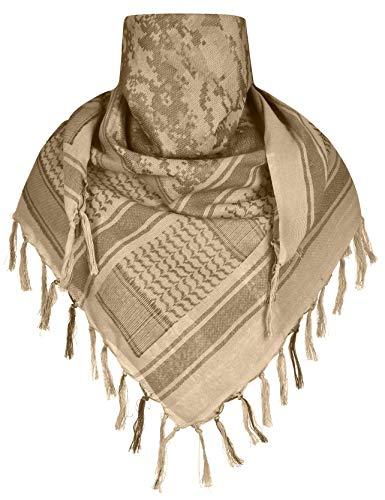 ChinFun 100% Cotton Keffiyeh Tactical Desert Scarf Military Arab Scarf Wrap Shemagh Camo-Khaki