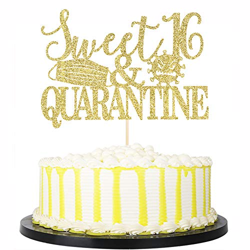 PALASASA Gold Glittery Sweet 16 & Quarantined Cake Topper- 16th Quarantined Birthday Party Decorations,Social Distancing Birthday Party Supplies