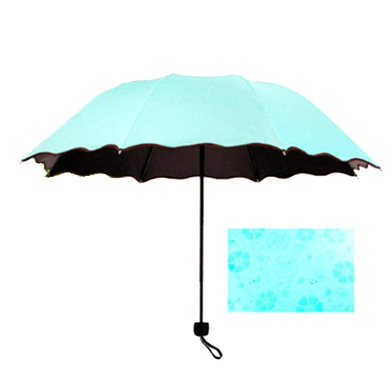 サイレン情緒的ツーリストofflove 日傘 折りたたみ傘 完全に遮光 かわいい 梅雨対策 (水色)