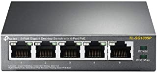 TP-Link 5-Port Gigabit Ethernet PoE Desktop Switch with 4-PoE Ports, IEEE 802.3af, 56W (TL-SG1005P),Black