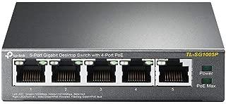 TP-Link 5 Port Gigabit PoE Switch | 4 Port PoE 56W | 802.3af Compliant | Shielded Ports | Traffic Optimization | Plug and Play | Sturdy Metal (TL-SG1005P)