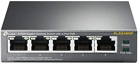 TP-Link 5 Port Gigabit PoE Switch | 4 Port PoE 56W | 802.3af Compliant | Shielded Ports | Traffic Optimization | Plug and Play | Sturdy Metal (TL-SG1005P)