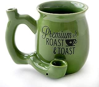 Premium Roast and Toast Novelty Mug Green with Black Print, Ceramic Coffee Mug