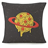 Throw Pillow Covers For Couch Funny Pizza-Looking Planet In Space Decorative Square Bed Sofa Pillows Case Modern Fast Food Stylish Eating Icon Vintage Creative Fantasy Linen Cushion Covers 18X18 Inch