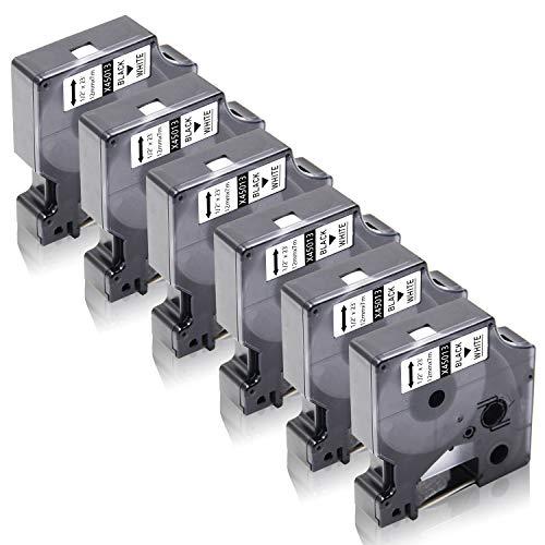 Xemax Compatibile Nastro 12mm x 7m Sostituzione per Dymo 45013 S0720530 Cassette per Dymo LabelManager 160 220P 280 360D 420P 500TS PnP, LabelPoint 150 300, LabelWriter 450 Duo, Nero su Bianco 6 Pacco