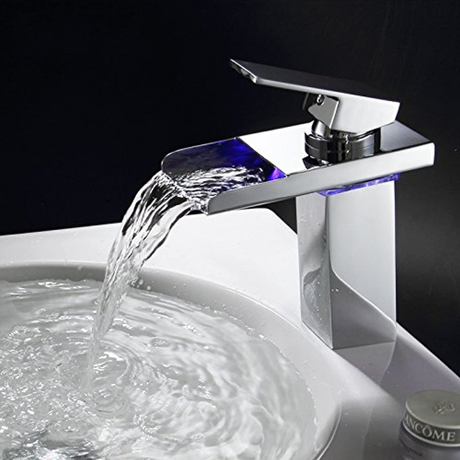 ZHFCAll copper LED basin faucet water power generation cold and hot water waterfall faucet