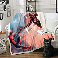 スパイダーマン毛布漫画キッズルームの装飾ベッドスロー子供エアコンキルトスローソファベッドフリースフリース毛布男の子ギフト (Color : A01, Size : 130*150cm)