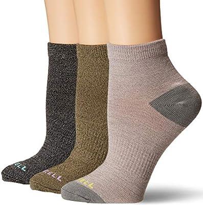 Merrell Women's 3 Pack Stripe Ankle Socks, Quail Marl Assorted, S/M