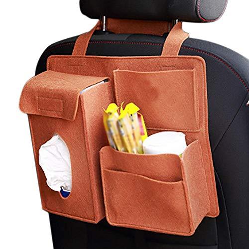 Haodou Autorücksitz-Organizer TravelKid Entertain, Auto Rückenlehnenschutz mit Tablet-Fach, schmutzabweisend, viele Taschen, für alle Autositze, auch Sportsitze (Khaki)