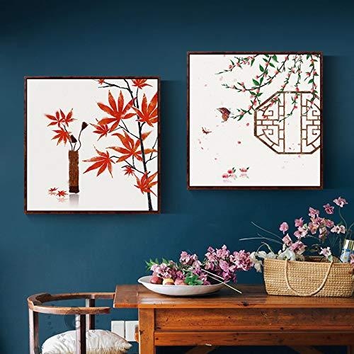 Chinesische Vintage Bilder Flagge Ahorn Tempel BrüCke Leinwand Malerei Wandkunst FüR Wohnzimmer KüChe Elegante Wohnkultur-50x50cmx2 Rahmenlos